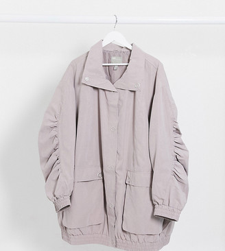 ASOS DESIGN Curve oversized parka with extreme sleeves in lilac