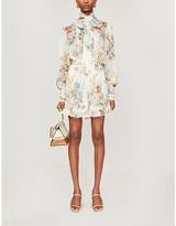 Zimmermann Floral-pattern scalloped-trim silk playsuit