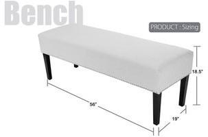 Mjl Furniture Designs DIANE Corona Platinum Upholstered Nail Trim Edging Long Bench