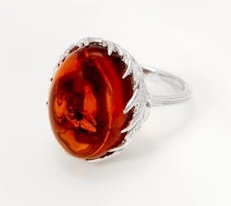 Sterling Silver Oval Amber Cabochon Leaf Design Ring