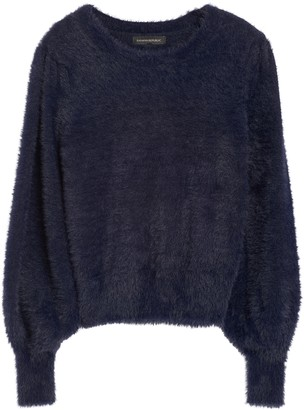 Banana Republic Petite Fuzzy Puff-Sleeve Cropped Sweater