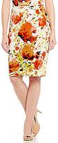 Kasper Floral-Print Scuba Slim Skirt