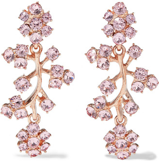 Oscar de la Renta Gold-tone Crystal Clip Earrings