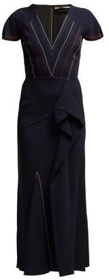 Roland Mouret Bates Ruffled Crepe Dress - Womens - Navy Multi