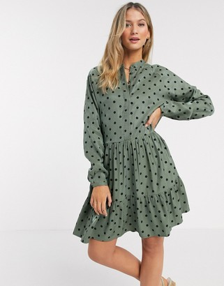 MBYM shirt dress in polka dot green