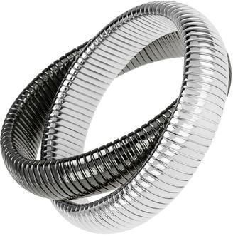 Janis Savitt High Polished Gunmetal and Rhodium Double Cobra Bracelet