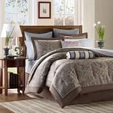 Madison Park Premium Quality Elegant Stylish Aubrey Blue 12 Piece Comforter King Size Set, 1 Comforter, 2 Shams, Bedskirt, 2 Pillows, 2 Euro Shams, Flat Sheet, Fitted Sheet and 2 Pillowcases