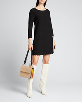 Milly 3/4-Sleeve Scallop A-Line Dress