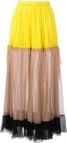 No.21 striped midi skirt
