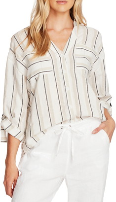 Vince Camuto Stripe Roll Tab Linen & Cotton Button-Up Shirt