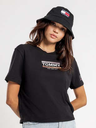Tommy Hilfiger Sleeve Detail Logo T-Shirt in Black