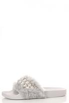 Quiz Grey Faux Fur Pearl Detail Sliders