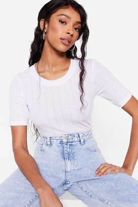 Nasty Gal Womens Switch Rib Up Fitted Crew Neck Tee - White