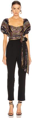 Self-Portrait Stripe Sequin Puff Sleeve Jumpsuit in Multi & Black | FWRD