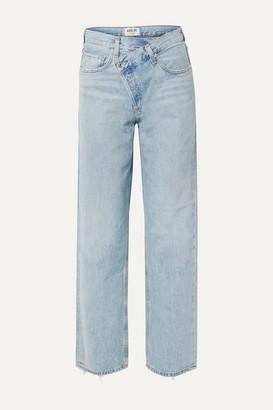 AGOLDE Criss Cross Upsized Distressed High-rise Wide-leg Jeans - Light denim