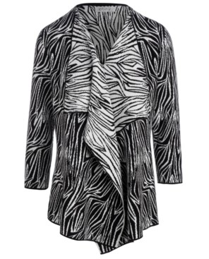Kasper Zebra-Print Cardigan