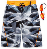 ZeroXposur Boys Geometry Camo Swim Trunks-Big Kid