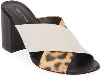 Dries Van Noten Crisscross Block-Heel Slide Sandals