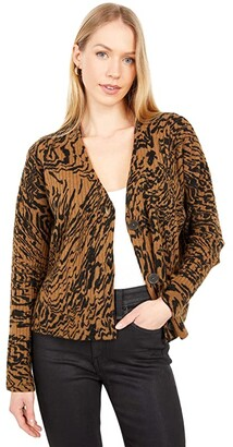 Madewell Printed Cropped V-Neck Cardigan (Heather Chestnut) Women's Clothing