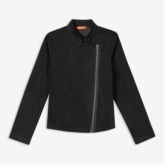 Joe Fresh Women's Faux Suede Moto Jacket, Black (Size XL)