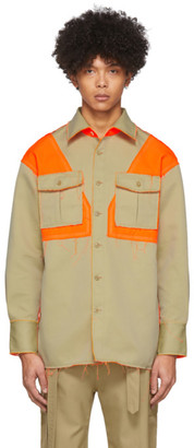 Feng Chen Wang Orange and Beige Twill Shirt
