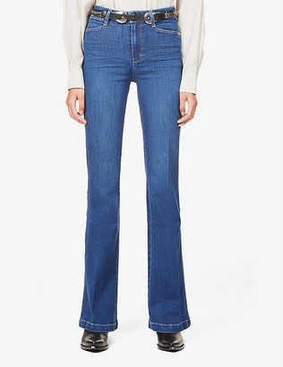 Paige Ladies Blue Leather Genevieve Flared High-Rise Jeans, Size: 23