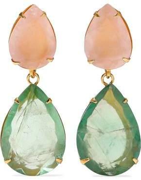 Bounkit Convertible Gold-tone, Quartz And Fluorite Earrings