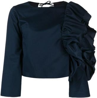 Loulou Ruffled-Sleeve Open Back Blouse