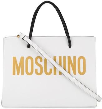 Moschino Square Logo-Print Tote Bag