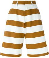 No.21 striped wide leg knee-length shorts