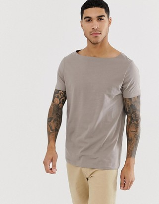 BEIGE Asos Design ASOS DESIGN relaxed t-shirt with boat neck in