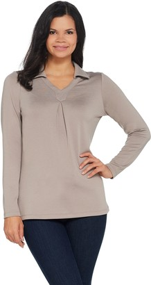 Denim & Co. Heavenly Jersey Long-Sleeve Top with Pleating Detail