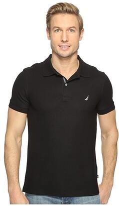 Nautica Short Sleeve Slim Polo (True Black) Men's Short Sleeve Pullover