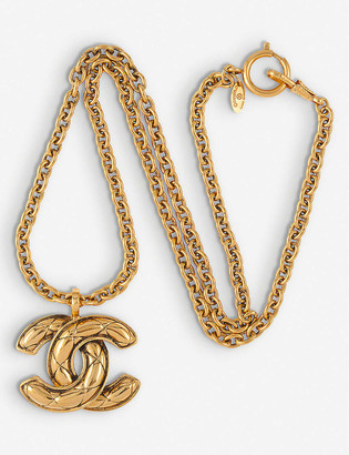 Susan Caplan Vintage Pre-Loved Chanel logo-charm 18ct gold-plated necklace