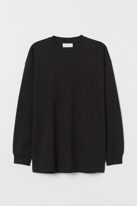 H&M Long-sleeved Cotton T-shirt - Black