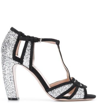 Miu Miu Glitter Block Heel Sandals