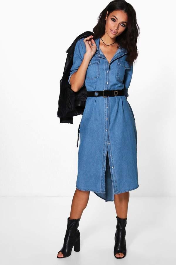 boohoo Diana Denim Long Shirt Dress blue