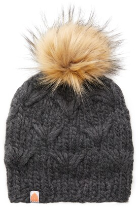 Sh*T That I Knit The Motley Merino Wool Beanie with Removable Faux Fur Pompom
