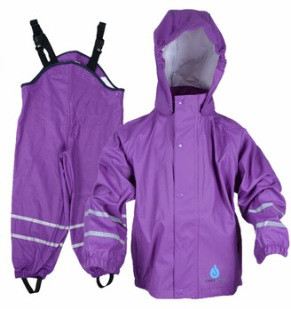 DRY KIDS Childrens Waterproof Jacket and Dungarees Set PU Coated. Boys and Girls Rainwear for Outdoor Play.
