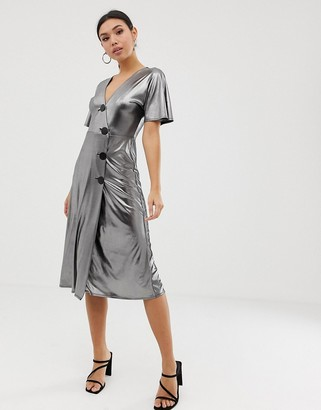 ASOS DESIGN silver metallic midi tea dress with metal buttons