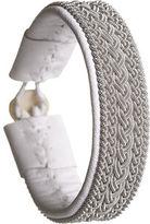 Maria Rudman Rambali Pewter White Leather Bracelet