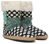 Dearfoams Women's Tall Patchwork Memory Foam Boot Slipper