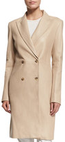 The Row Gerrick Leather Double-Breasted Coat, Soap Stone