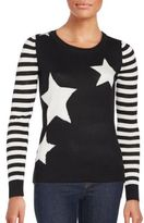 Saks Fifth Avenue Striped Sleeve Star Sweater