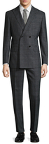English Laundry Windowpane Double Breasted Peak Lapel Suit
