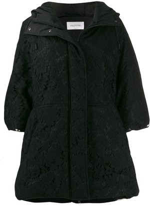 Valentino Lace Overlay Hooded Coat