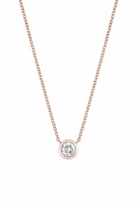 Bony Levy 14K Rose Gold Bezel Set Diamond Solitaire Pendant Necklace - 0.37 ctw