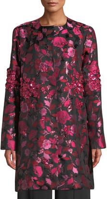Zac Posen Jeweled Floral-Jacquard Topper Jacket