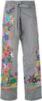 P.A.R.O.S.H. striped embroidered trousers - women - Cotton/Polyamide/Spandex/Elastane - S