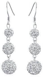 Bling Jewelry Crystal Pave Disco 3 Ball Teardrop Dangle Earrings Sterling Silver